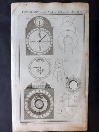 Royal Cyclopaedia C1790 Folio Print. Horology or the Art of Telling the Hour 104